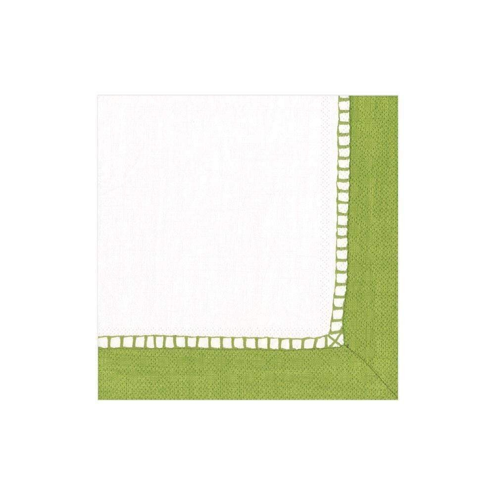 Caspari - Linen Border Paper Cocktail Napkins in Green - 20 Per Package