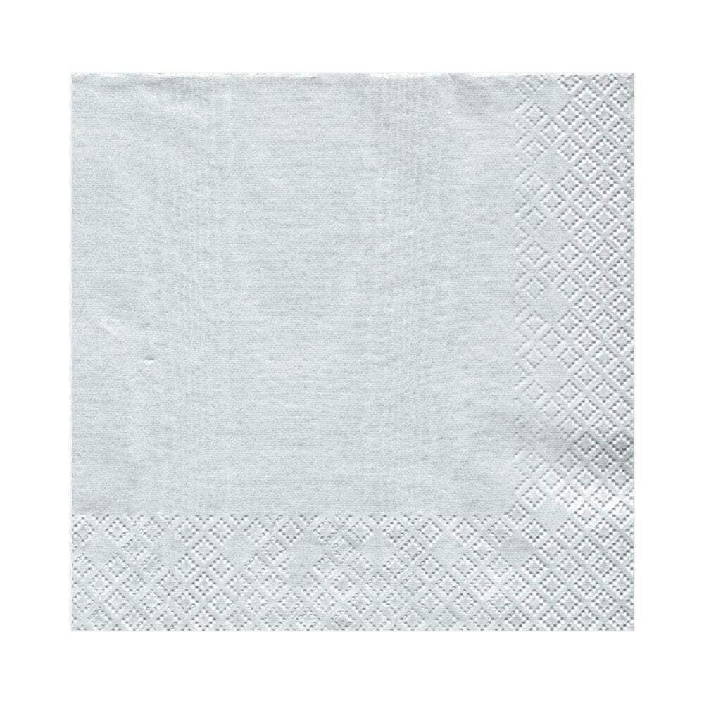 Caspari - Moiré Paper Luncheon Napkins in Platinum - 20 Per Package
