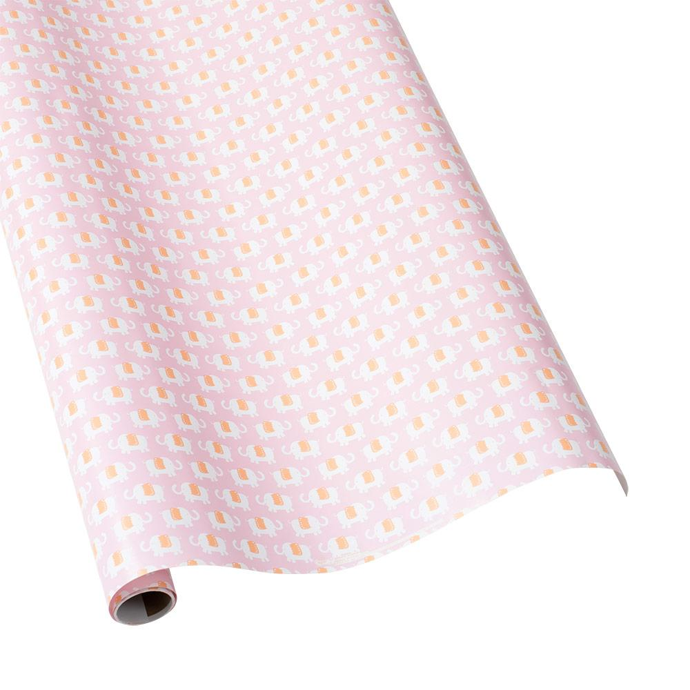 "Caspari - Elephant Parade Gift Wrapping Paper in Pink - 30"" x 5' Roll"