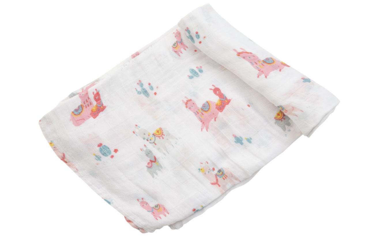 Angel Dear - Swaddle Blanket in Pink Llamas - Muslin
