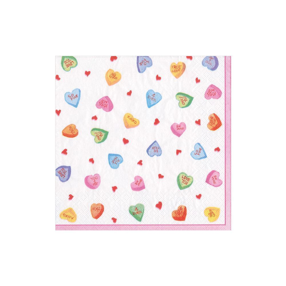 Caspari - Candy Hearts Paper Cocktail Napkins - 20 Per Package