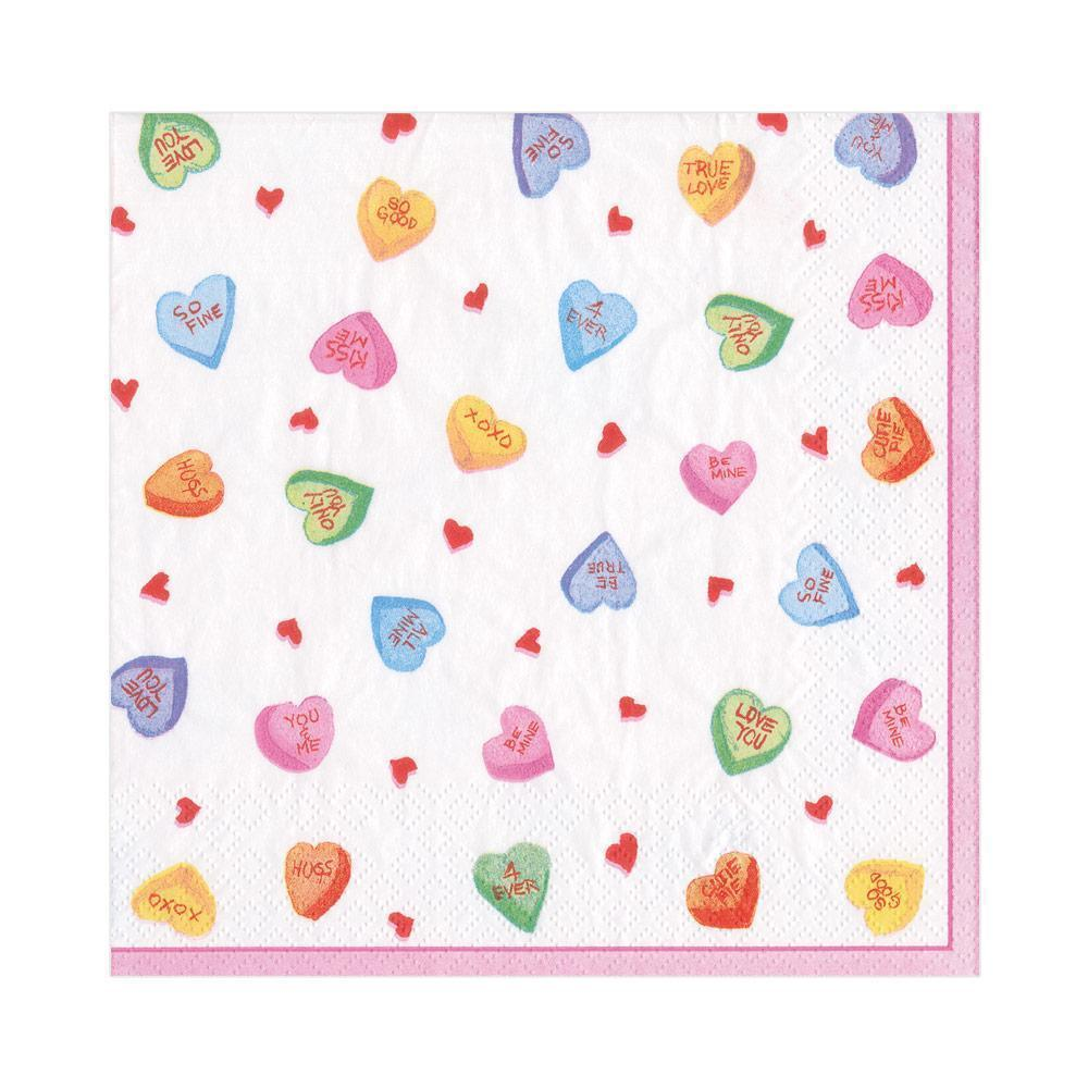 Caspari - Candy Hearts Paper Luncheon Napkins - 20 Per Package