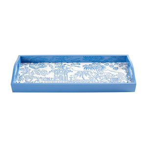 Caspari - Pagoda Toile Lacquer Bar Tray in Blue - 1 Each
