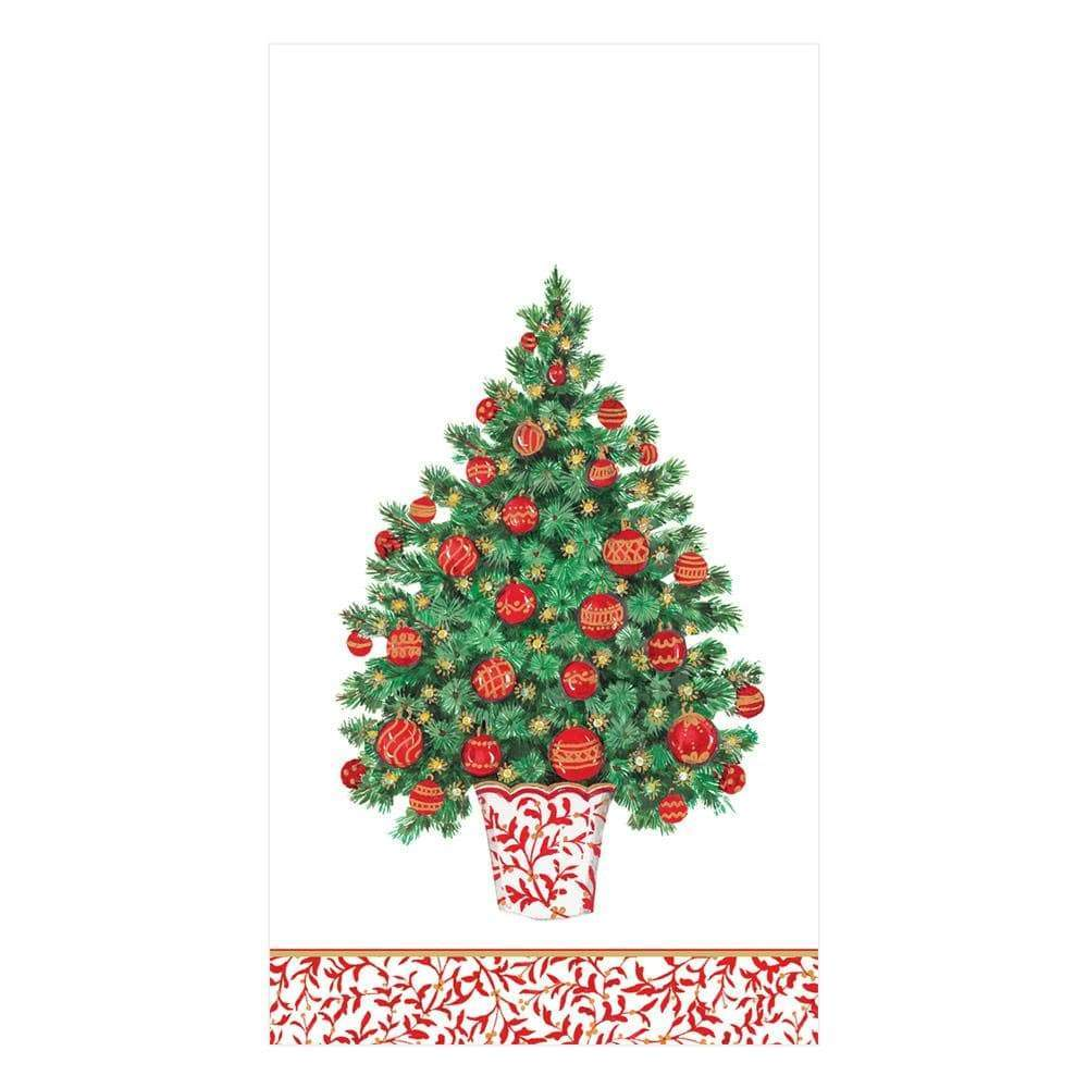 Caspari - Decorated Tree Paper Guest Towel Napkins - 15 Per Package