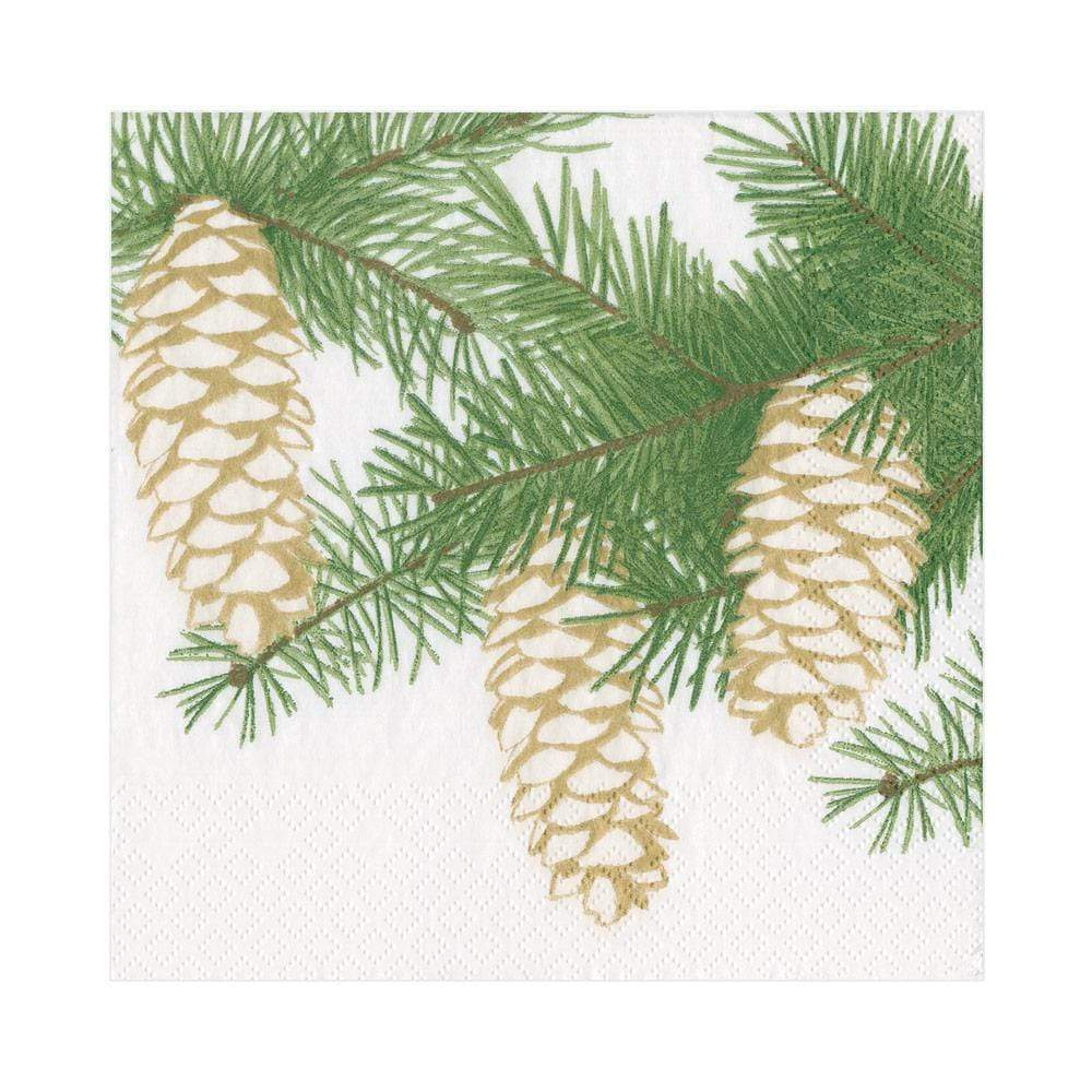 Caspari - Pinecones Paper Luncheon Napkins in Ivory - 20 Per Package