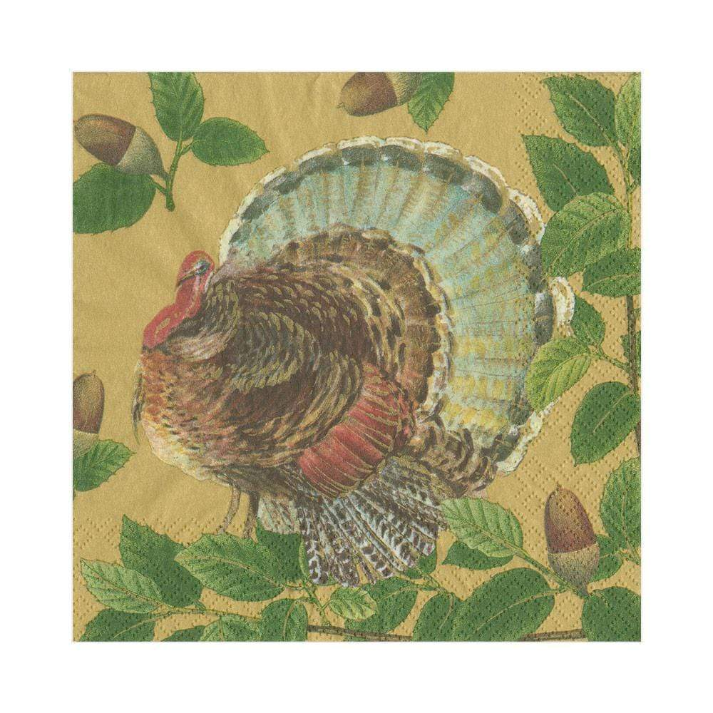 Caspari - Turkey and Acorns Paper Luncheon Napkins in Gold - 20 Per Package
