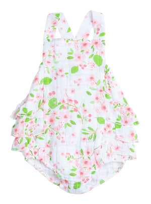 Angel Dear - Sunsuit (Muslin) with Ruffle Back in Cherry Blossom
