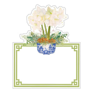 Caspari - Potted Amaryllis Die-Cut Place Cards - 8 Per Package