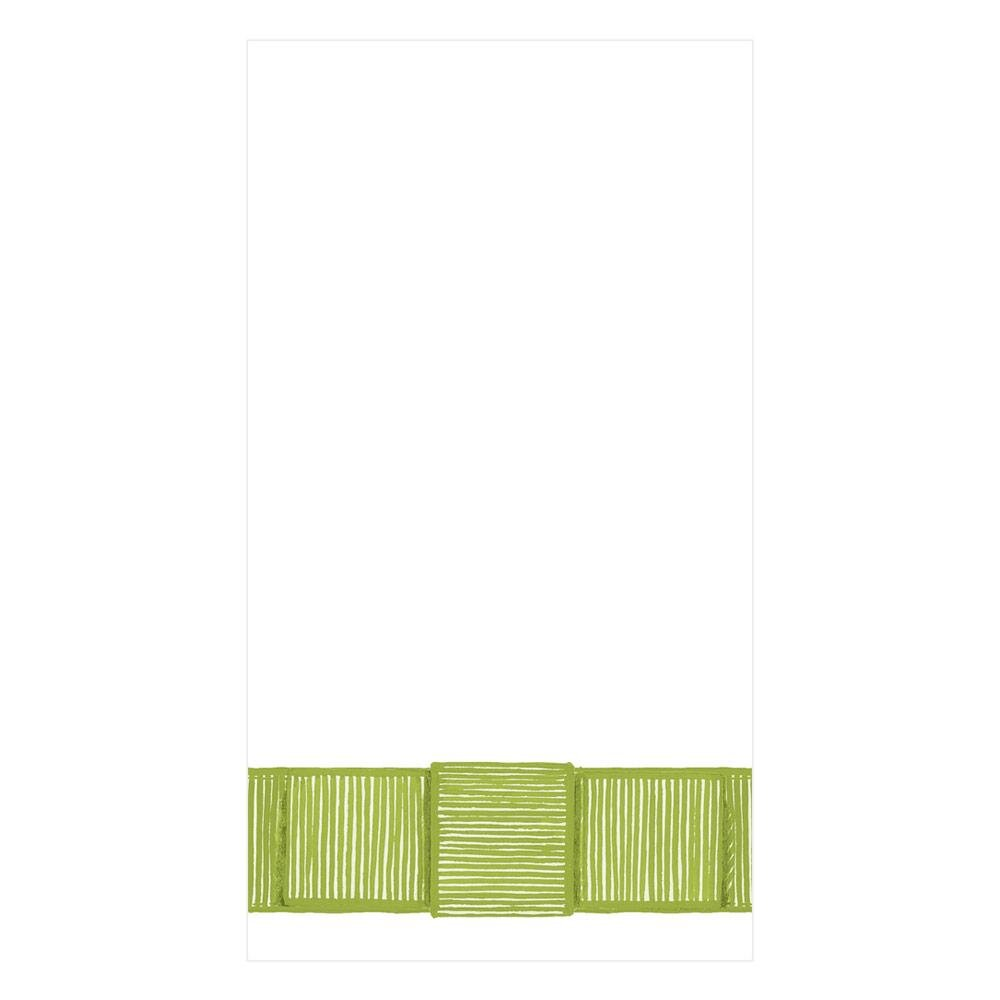 Caspari - Ribbon Border Paper Guest Towel Napkins in Green - 15 Per Package