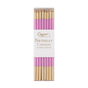 Caspari - Slim Birthday Candles in Candy Pink & Gold - 16 Candles Per Package