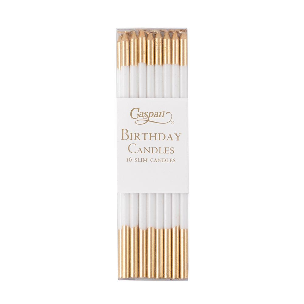 Caspari - Slim Birthday Candles in White & Gold - 16 Candles Per Package