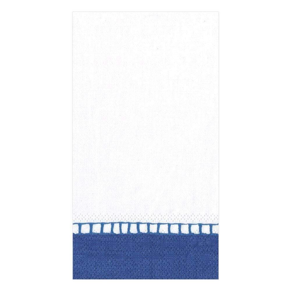 Caspari - Linen Border Paper  Guest Towel Napkins in Marine Blue - 15 Per Package