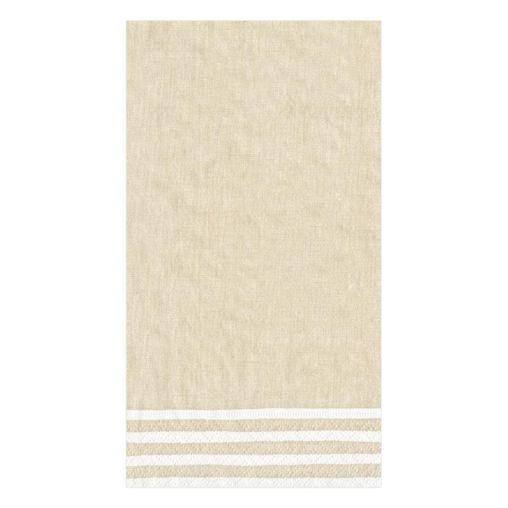 Caspari - Border Stripe Paper Guest Towel Napkins in Natural - 15 Per Package