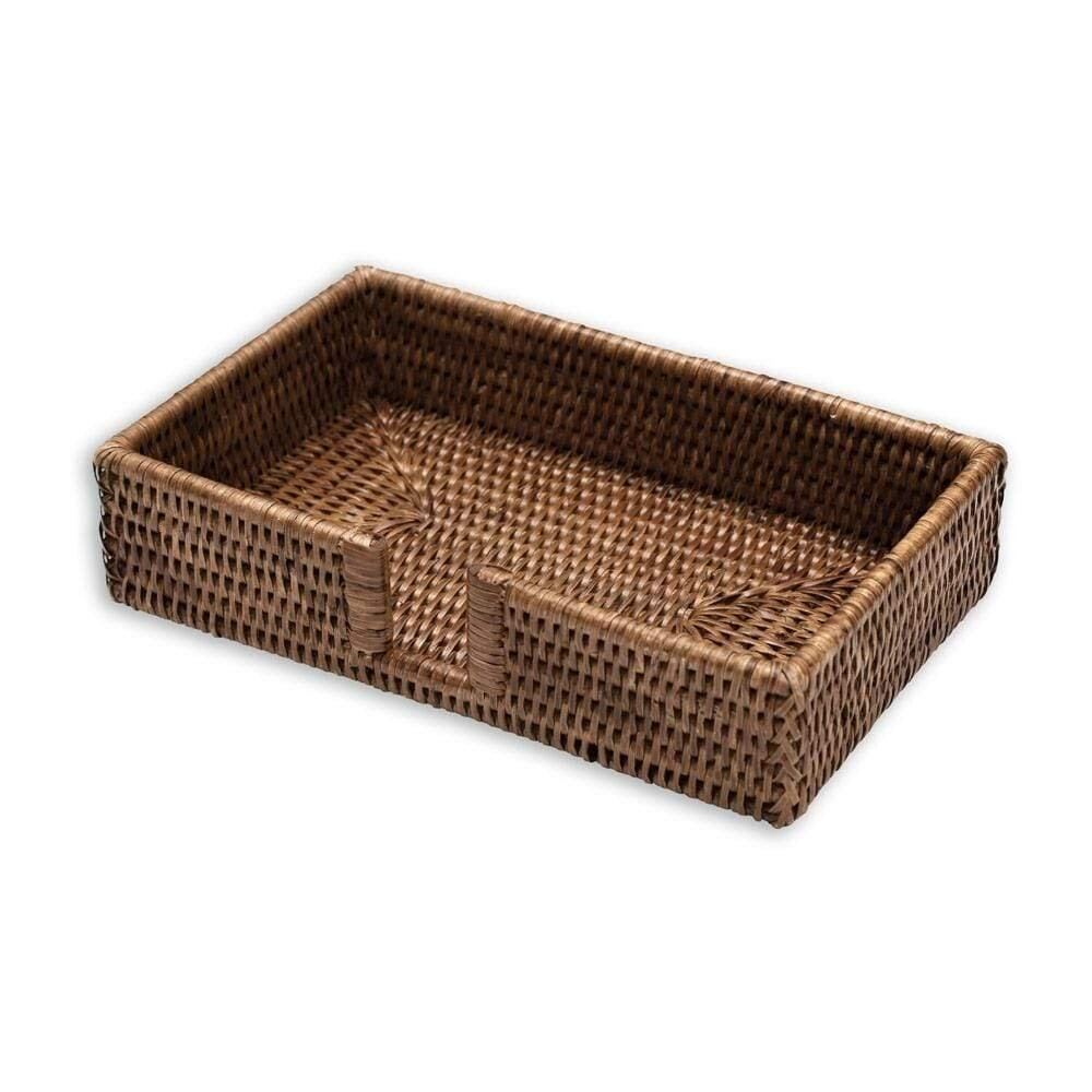 Caspari - Rattan Guest Towel Napkin Holder in Dark Natural
