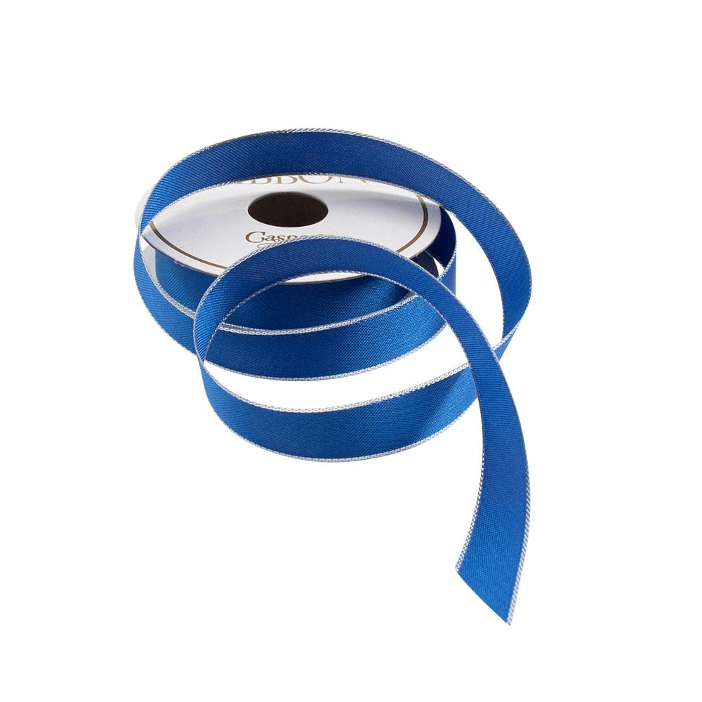 Caspari - Blue & Silver Edge Satin Unwired Ribbon - 8 Yard Spool