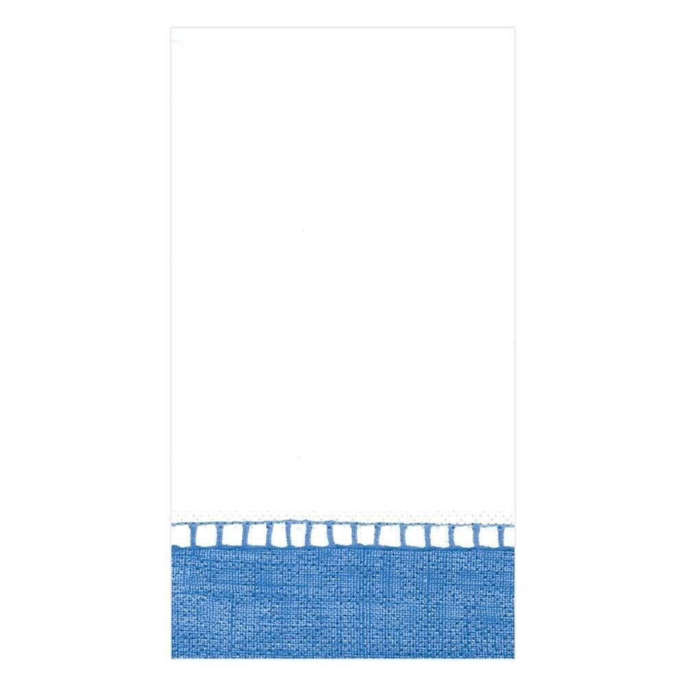 Caspari - Linen Border Paper Guest Towel Napkins in Blue - 15 Per Package