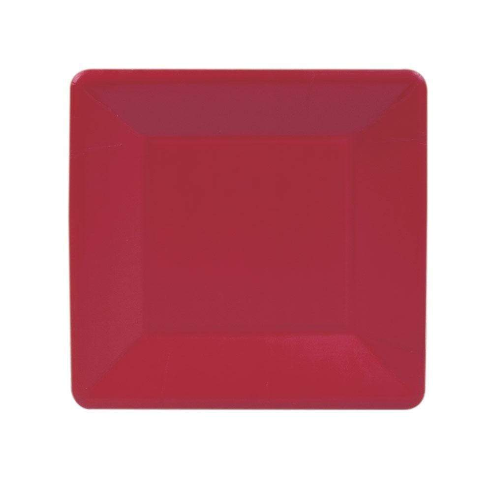 Caspari - Grosgrain Square Paper Salad & Dessert Plates in Red - 8 Per Package
