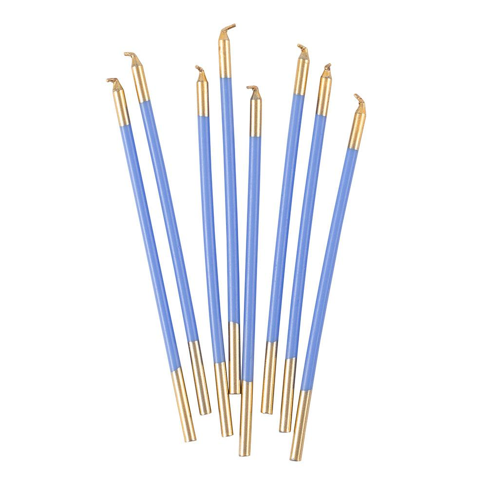 Caspari - Slim Birthday Candles in French Blue & Gold - 16 Candles Per Package
