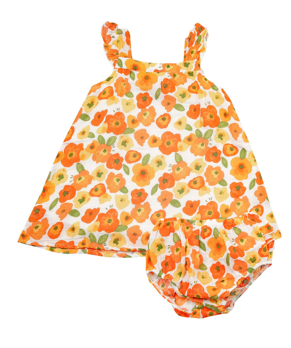 Angel Dear - Sundress and Diaper Cover in Poppies