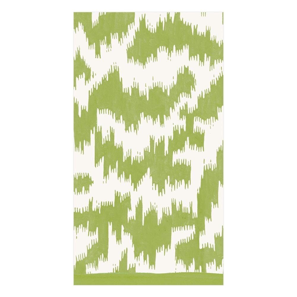 Caspari - Modern Moiré Paper Guest Towel Napkins in Green - 15 Per Package