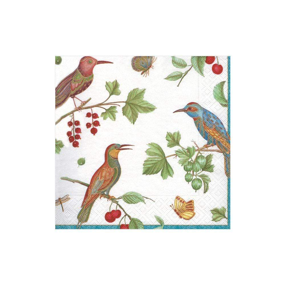 Caspari - Jeweled Birds Paper Cocktail Napkins in Ivory - 20 Per Package