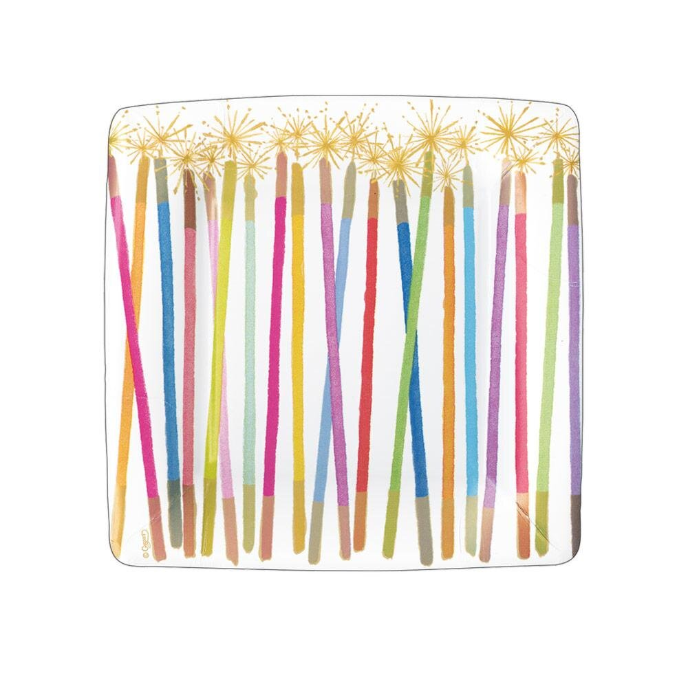 Caspari - Party Candles Square Paper Salad & Dessert Plates - 8 Per Package