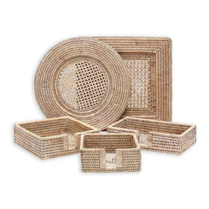 Caspari - Rattan Round Plate Charger in White Natural
