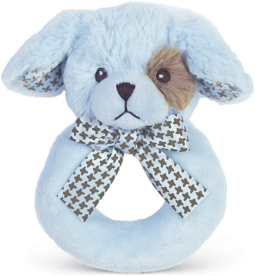 Bearington Baby - Lil' Waggles Plush Stuffed Animal Blue Puppy Dog Soft Ring Rattle, 5.5""