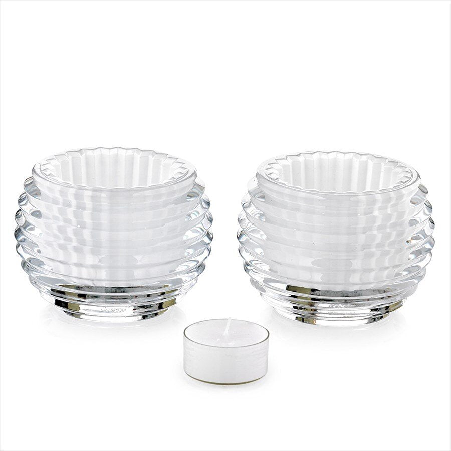 Baccarat - Crystal Silver Eye Votive White, Pair