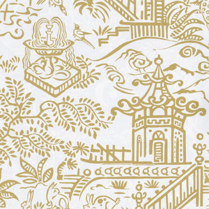 "Caspari - Pagoda Toile Reversible Gift Wrapping Paper in Gold & Silver - 30"" x 5' Roll"