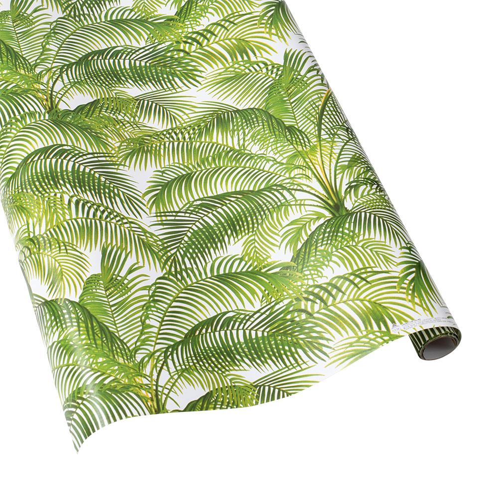 "Caspari - Under the Palms Gift Wrapping Paper in White - 30"" x 5' Roll"