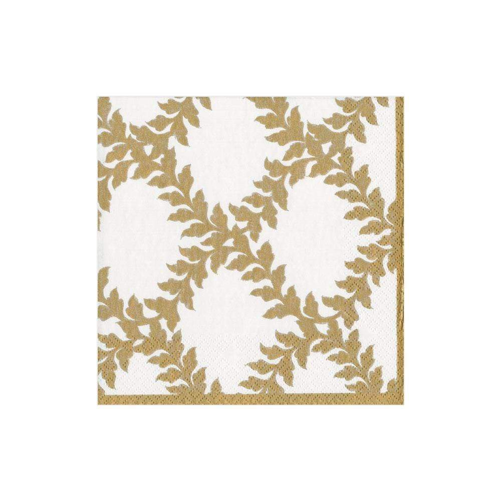 Caspari - Acanthus Trellis Paper Cocktail Napkins in Ivory - 20 Per Package