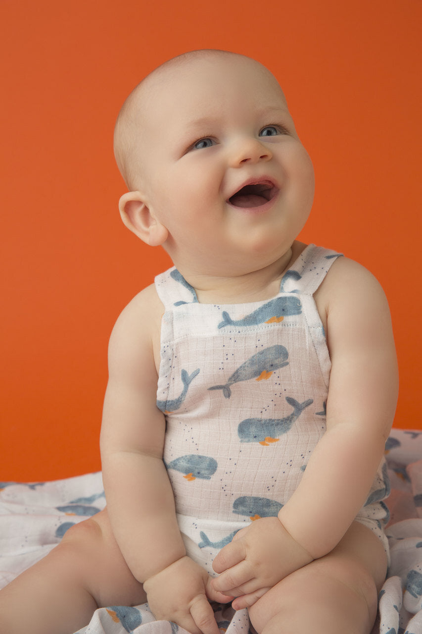 Angel Dear - Sunsuit (Muslin) with Retro Styling in Baby Whales