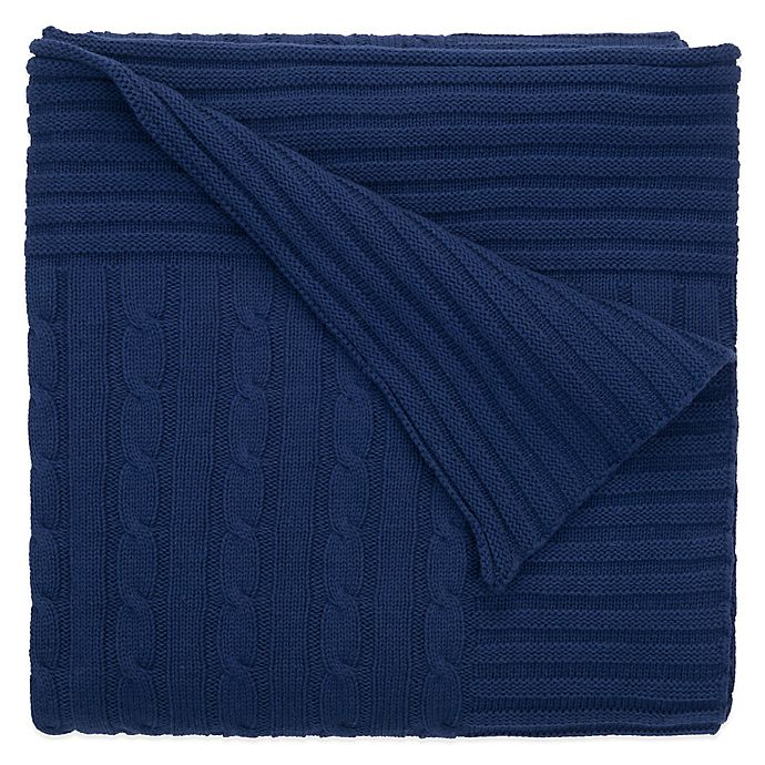 Elegant Baby - Classic Cable Knit Blanket - Navy