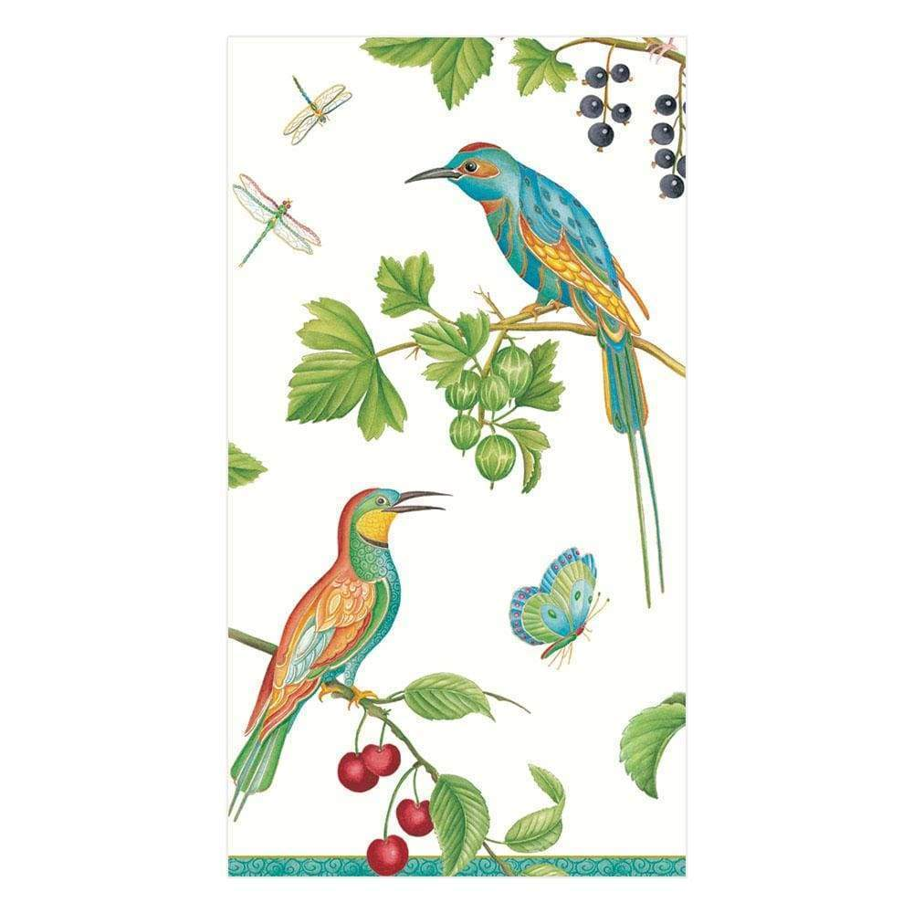 Caspari - Jeweled Birds Paper Guest Towel Napkins in Ivory - 15 Per Package