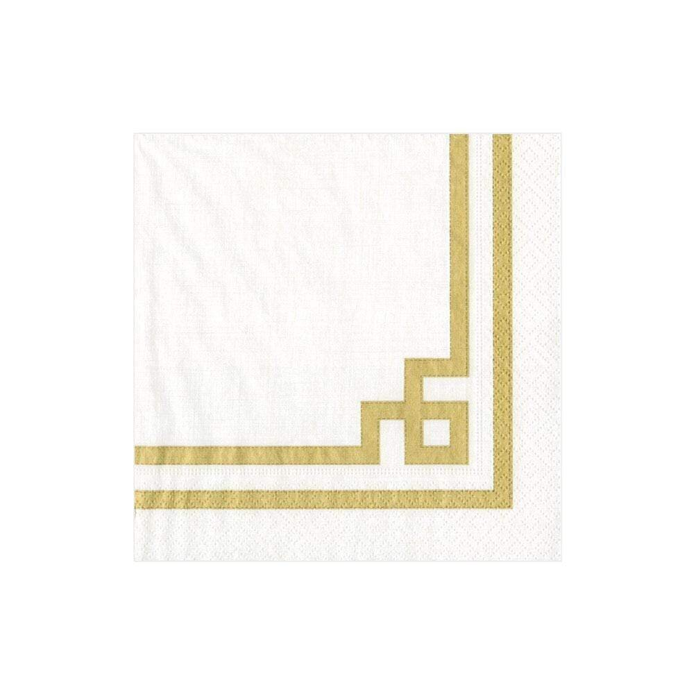 Caspari - Rive Gauche Paper Cocktail Napkins in Gold & White - 20 Per Package