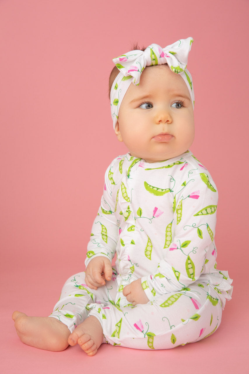 Angel Dear - Zipper Romper (Ruffles) in Sweet Peas