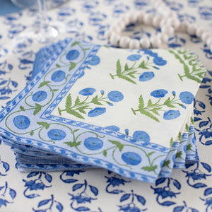 Caspari - Indian Poppy Paper Cocktail Napkins in Blue - 20 Per Package