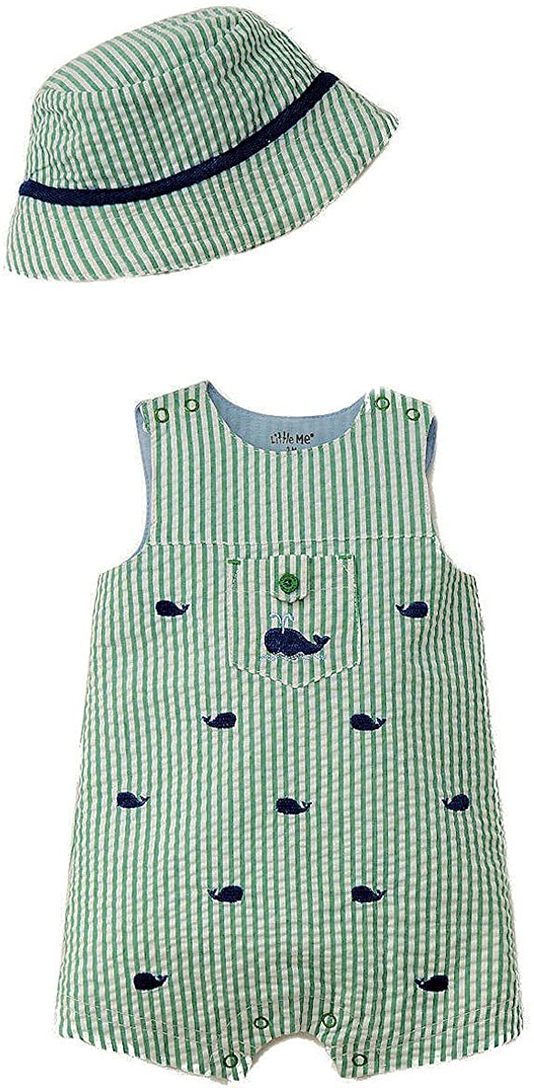 Little Me - Whale Woven Sunsuit with Hat