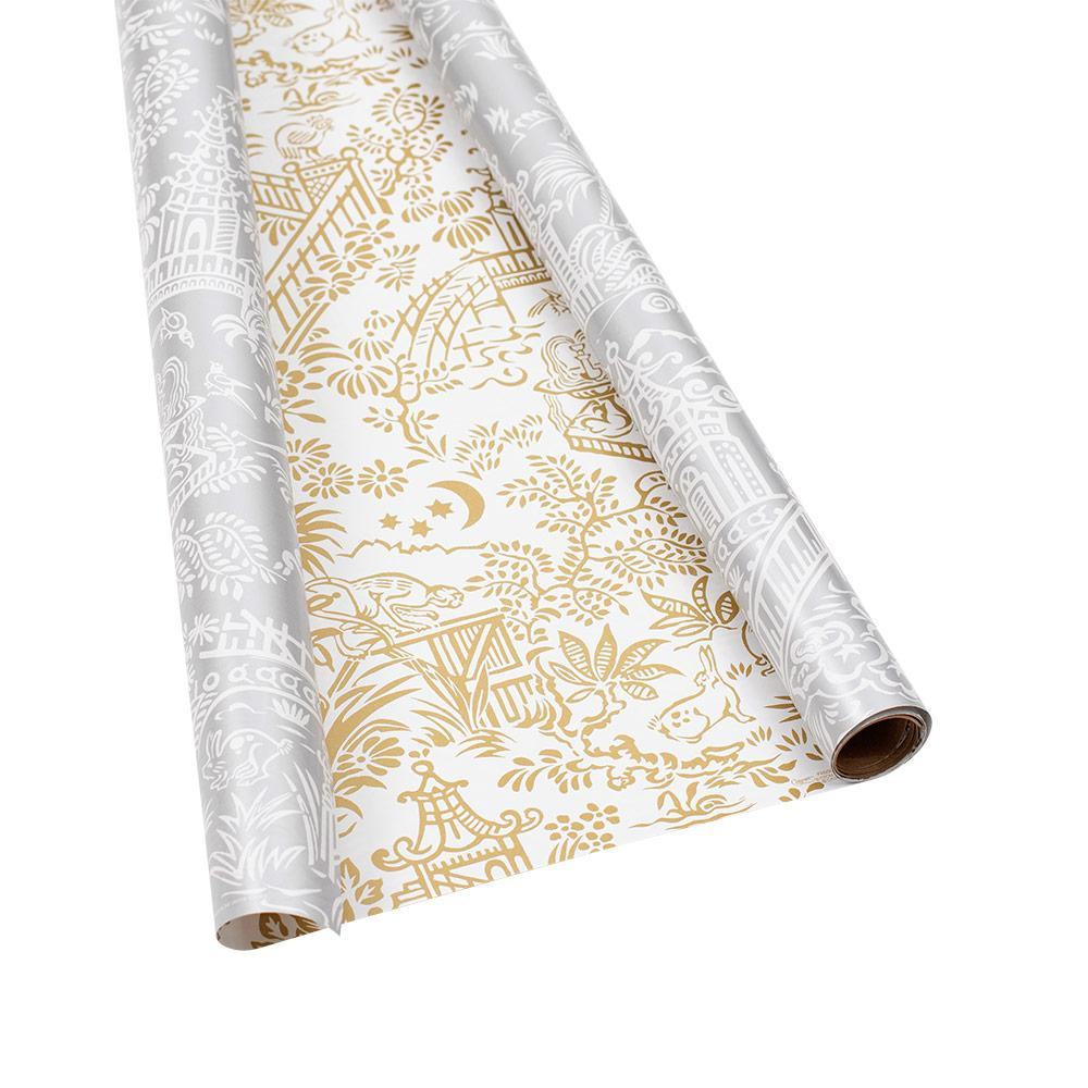 "Caspari - Pagoda Toile Reversible Gift Wrapping Paper in Silver & Gold - 30"" x 5' Roll"