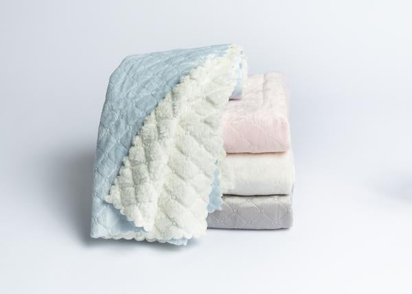 A Soft Idea - Nana Quilted Plush Baby Blanket - Blue