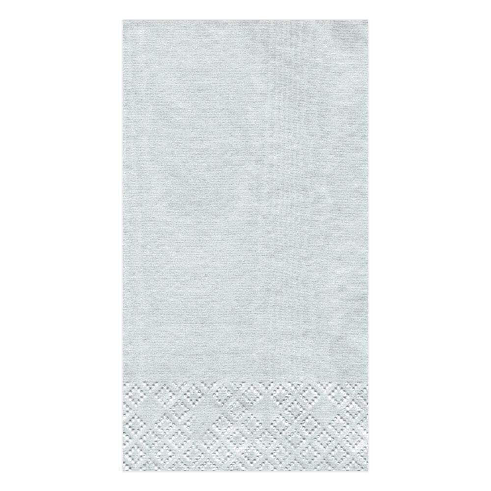 Caspari - Moiré Paper Guest Towel Napkins in Platinum - 15 Per Package