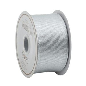 Caspari - Metallic Silver Grosgrain Wired Ribbon - 6 Yard Spool