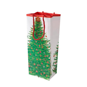 Caspari - Glittering Tree Wine & Bottle Gift Bag - 1 Each
