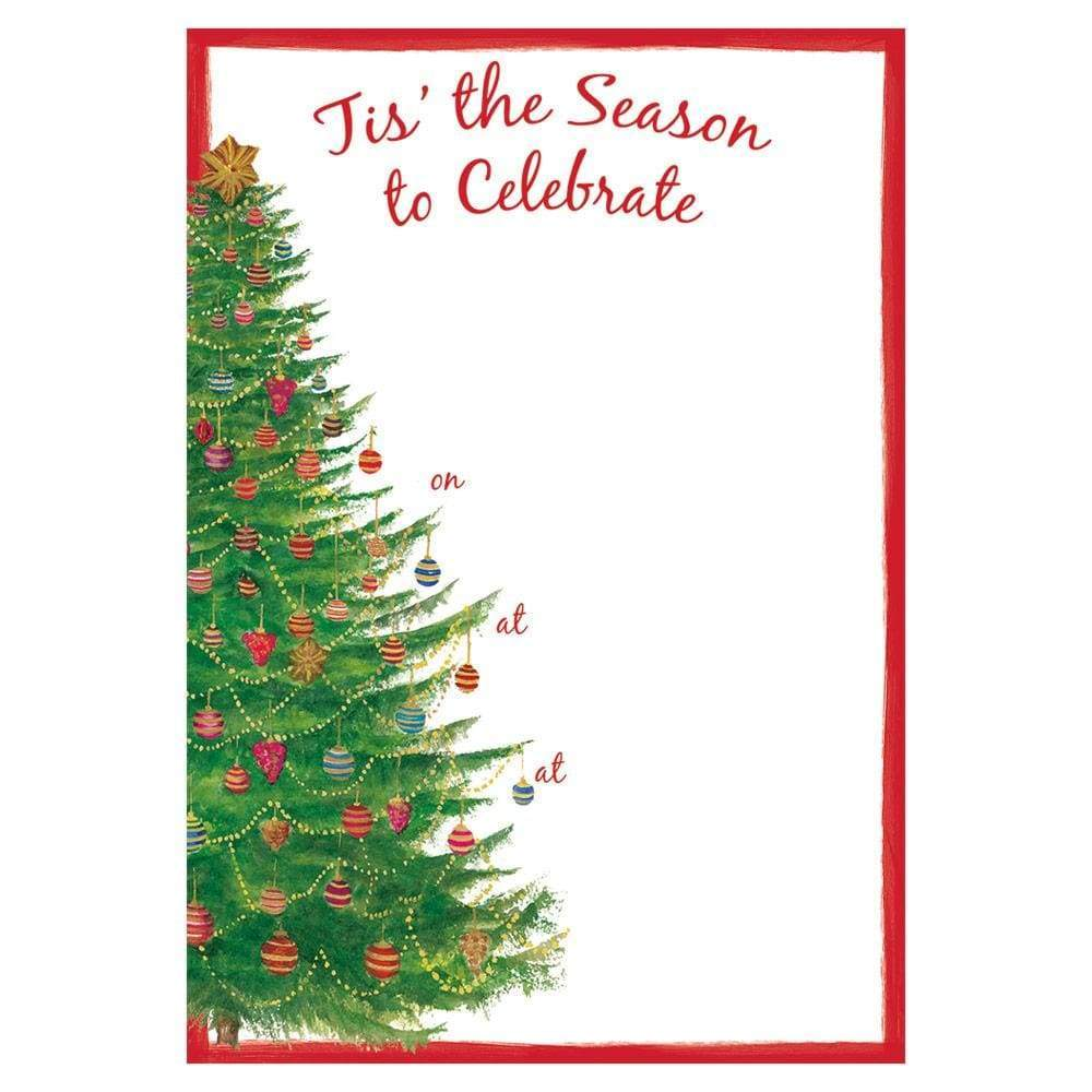 Caspari - Glittering Tree Invitations - 8 Fill-In Invitations & 8 Envelopes