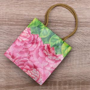 Caspari - Camellias Small Square Gift Bag - 1 Each