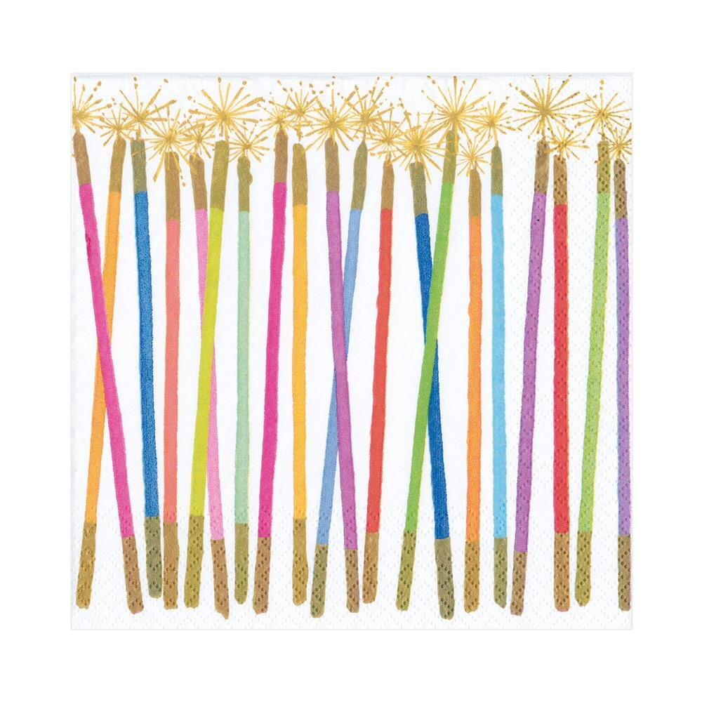 Caspari - Party Candles Paper Luncheon Napkins - 20 Per Package
