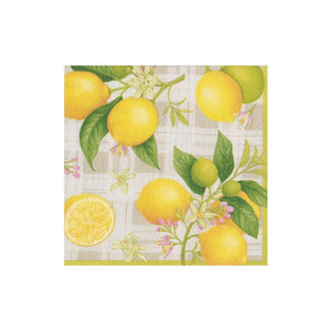 Caspari - Citron Paper Cocktail Napkins - 20 Per Package