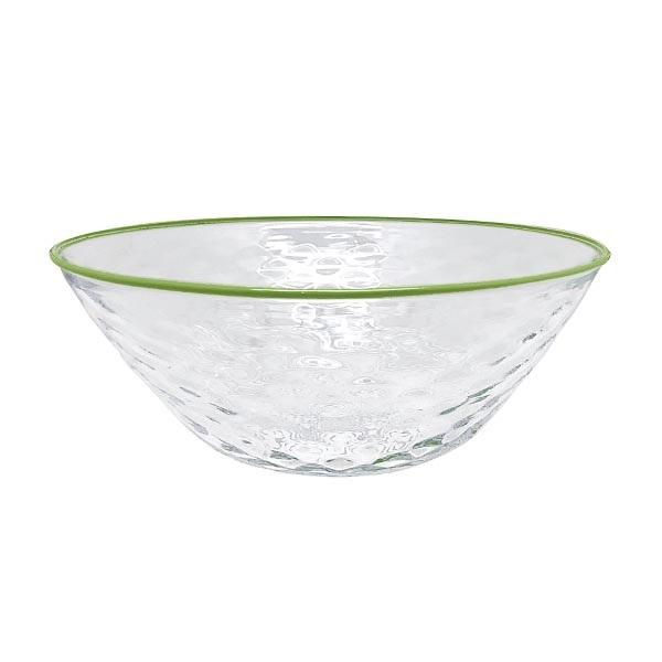 Mariposa - Pineapple Textured Large Bowl, Green Rim