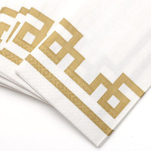 Caspari - Rive Gauche Paper Guest Towel Napkins in Gold & White - 15 Per Package